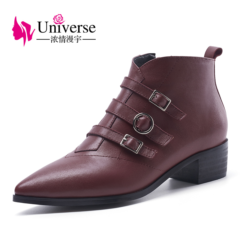 Здесь продается  Universe genuine leather pointed toe women ankle boots pu lining buckle decoration shoes boots G298  Обувь
