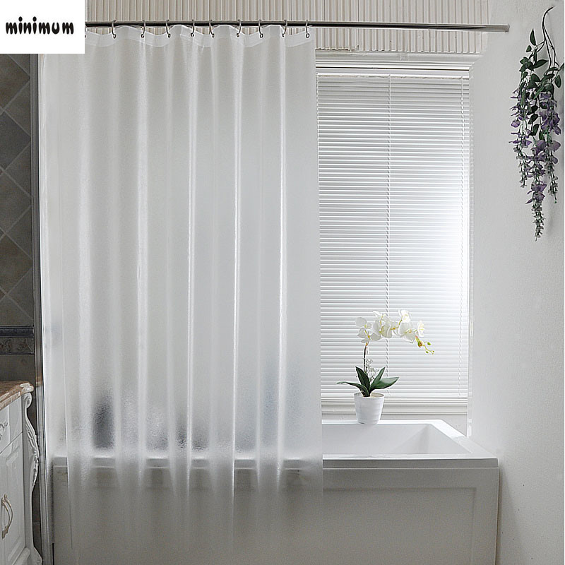 Plastic Scrub Shower Curtains Hook Ring Curtain Set Translucent Waterproof Thicker Mildew Proof Bathroom Free Punching