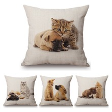lovely cat cute puppy dog cushion cover for sofa kidu0027s gift adorable kitten little dogs linen cotton sofa bench pillow covers