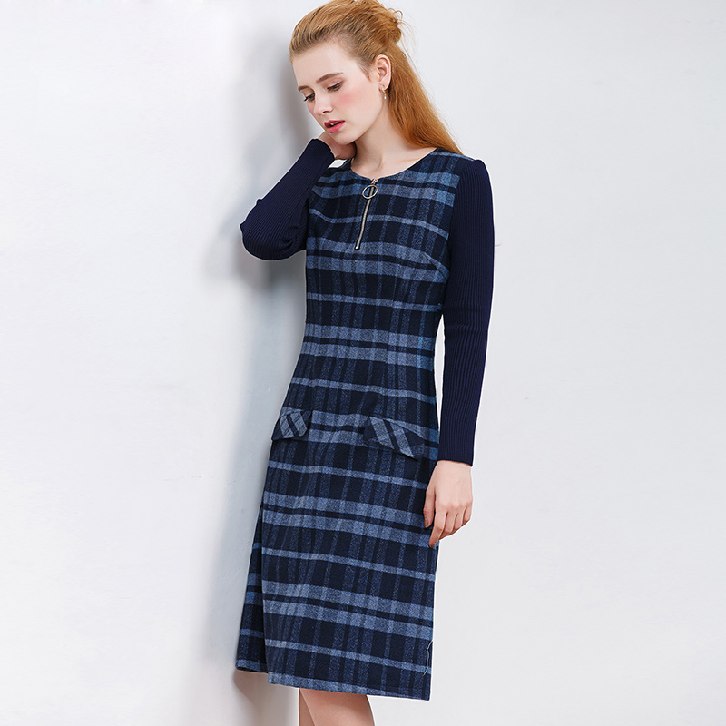ONLY PLUS Ladies Woolen Dress for Women Knit Long Sleeve Mosaic High Quality Elegant A-line Stripe Dress Winter 2018 26