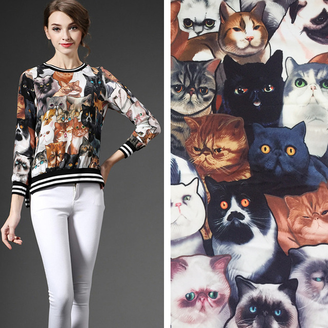 2018 summer women's new simulation silk satin print fabric cute cat animal patterns 145cm wide customized sale clothes bedding