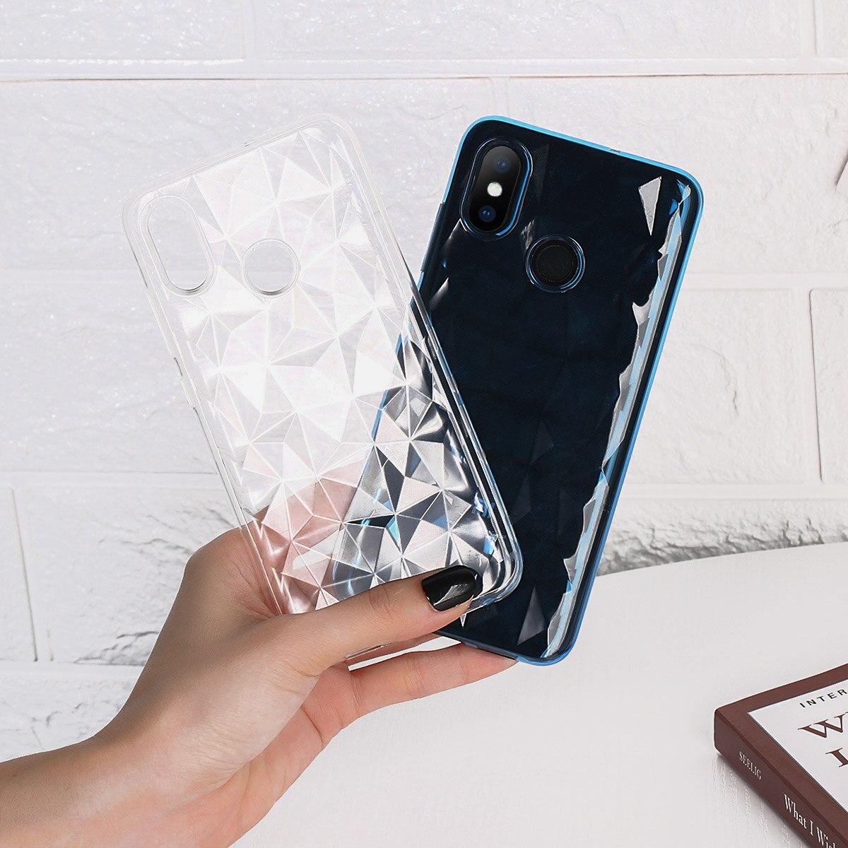 3D Diamond Transparen Soft Silicone Case Cover For Xiaomi Mi Max 3 Mix 2S A1 A2 Lite Pocophone F1 Redmi 6 6A Note 5 Pro S2 4A 4X