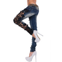 Tığ Dantel Kadın Kot Seksi Moda Sokak Düşük Bel Skinny Jeans Casual Denim Pantolon Pantolon Sonbahar 2017 Yeni
