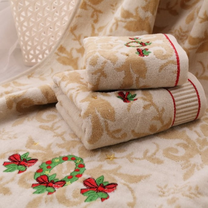 Jzgh 3pcs Designer Embroidered Cotton Terry Bath Towels Sets For Adults Luxury Decorative Beach Bath
