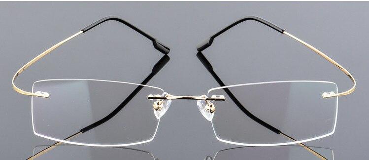ce4bdc4949 Eyesilove de moda de aleación de titanio gafas de miopía sin montura para  hombres y mujeres gafas de prescripción-0,50 a-6,00