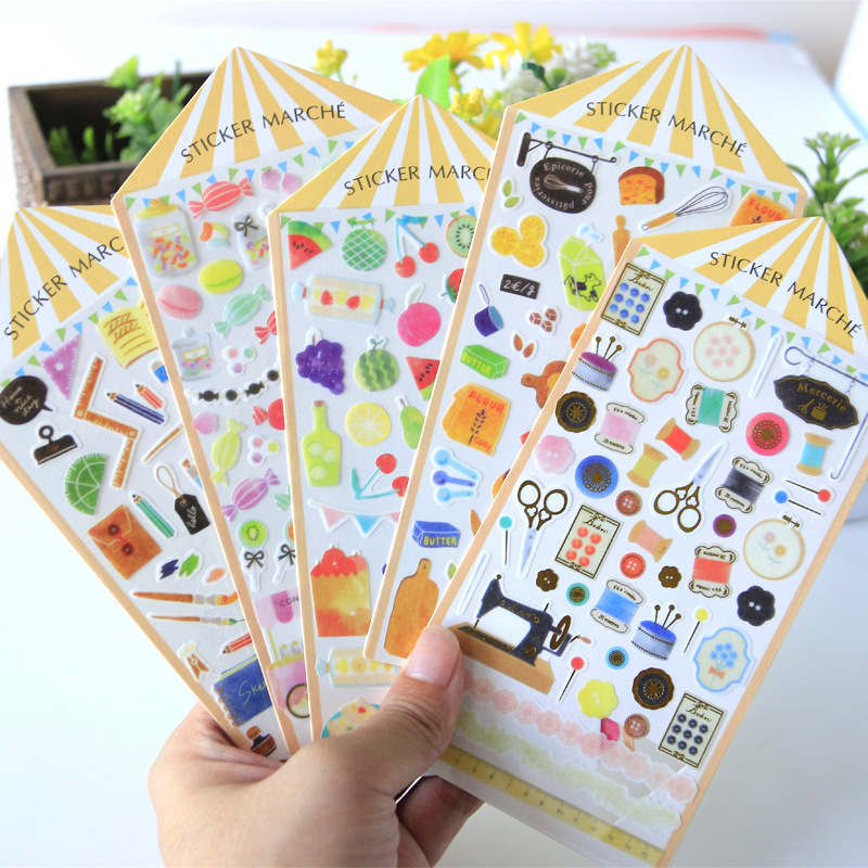 Watercolor Fair Fruits Flowers Candies Bullet Journal Decorative Stationery Stickers Scrapbooking DIY Diary Album Stick