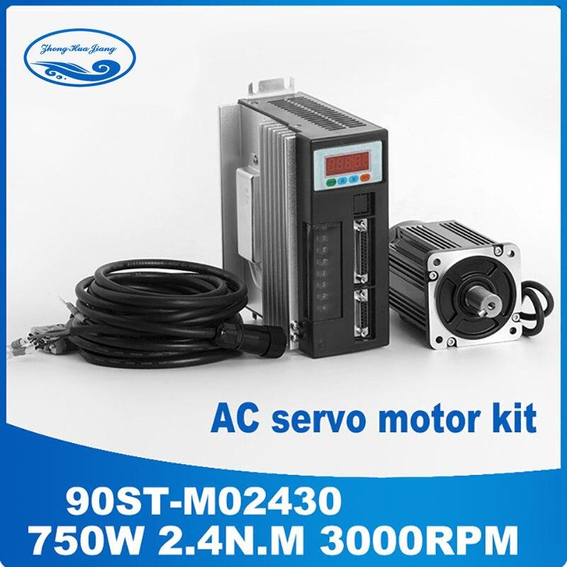 90ST-M02430 220 V 750 W AC servomoteur 3000 tr/min 2.4 N.M. Conducteur assorti d'aimant permanent d'entraînement à ca monophasé de 0.75KW