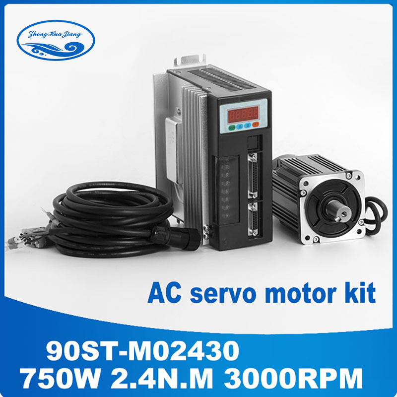 90ST-M02430 220 v 750 w AC Servo moteur 3000 rpm 2.4 N.M. 0.75KW Monophasé à courant alternatif à aimant permanent à entraînement Assorti Conducteur