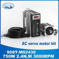 90ST M02430 220V 750W AC Servo motor 3000RPM 2.4 N.M. 0.75KW Single Phase ac drive permanent magnet Matched Driver