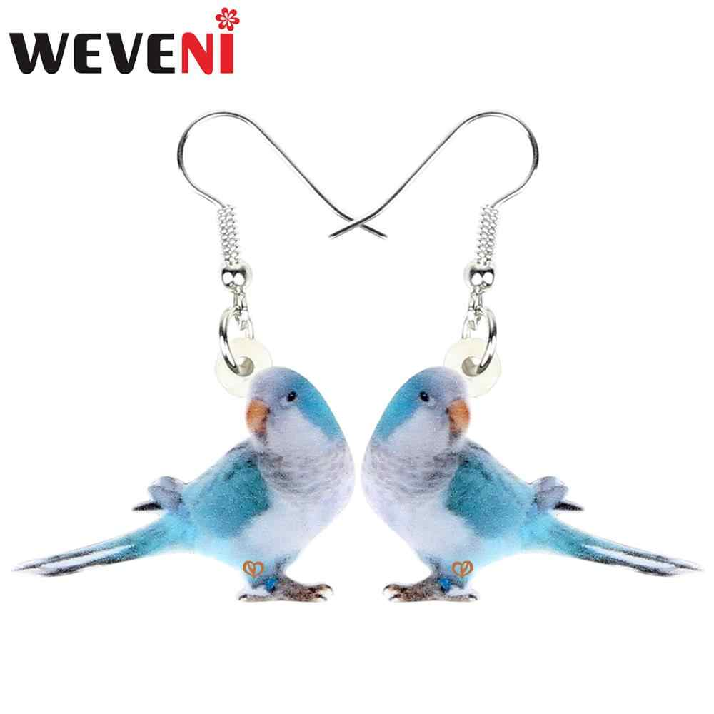 WEVENI Statement Acrylic Blue Monk Parakeet Bird Earrings Drop Dangle Fashion Jewelry For Women Girls Gift Charms Decoration