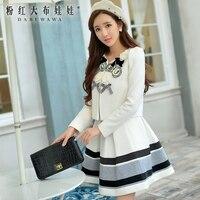 original 2017 casaco feminino autumn and winter v collar elegant cute appliques bow white wool coat female