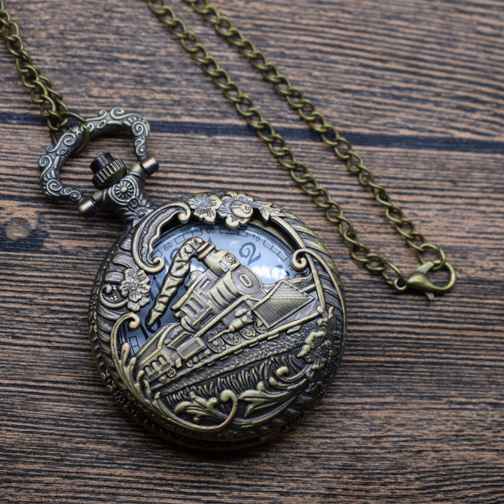 Pocket & Fob Watches Hand Bronze Pendant Round Train Tone Shape Carve Pocket Watch Necklace