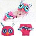 2 pcs Coruja conjunto bebê Tricô Aquecedores Toddlers Roupas artesanais recém-nascidos adereços fotografia infantil meninas da criança do bebê