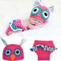 2pcs Owl baby set Knitting Warmers Toddlers Clothes handmade newborn infant photography girls baby child props