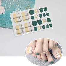 22tips/sheet Waterproof Toe Nail Stickers Full Cover Foot Decals Wraps Adhesive DIY Salon Manicure D26