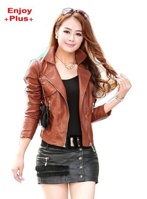 8% грудь 84-108 см S-4XL 2016 искусственная кожа pu куртка женщины плюс размер коричневый черный мотоцикл jaqueta де couro feminino леди