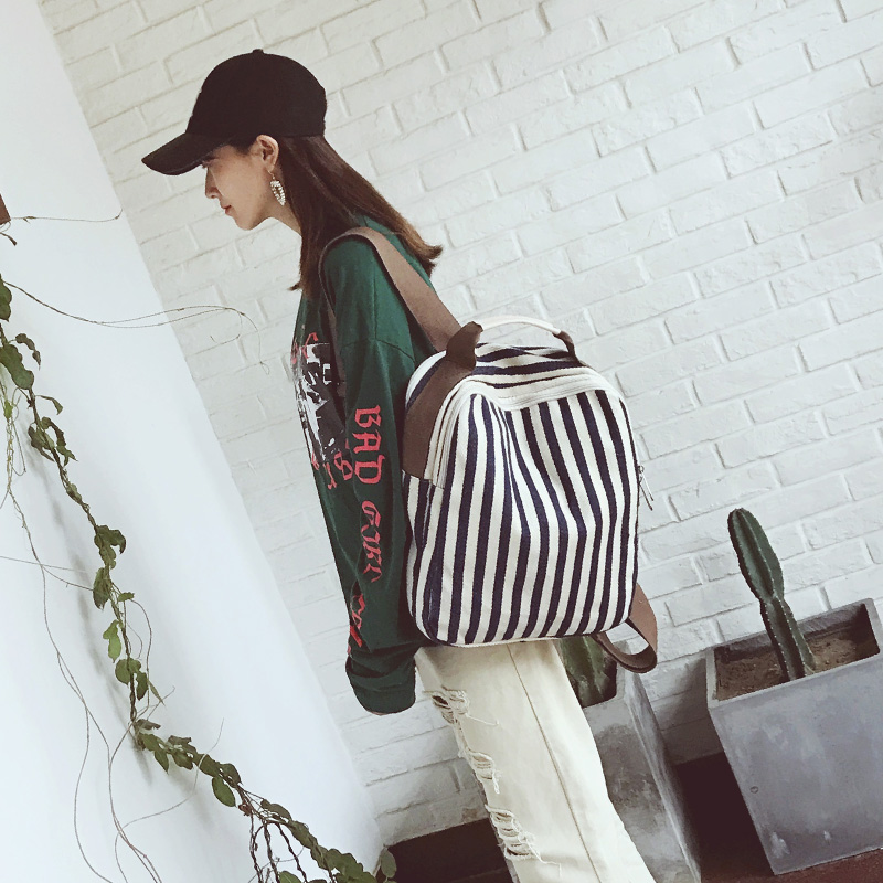 Korean Style New Fashion Backpack Women Stripe Panelled Preppy Style School Bag Leisure Backpack High Capacity