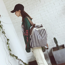 Корейский стиль Новые модные рюкзак Для женщин в полоску со вставками элегантный дизайн школьная сумка рюкзак отдыха высокого Ёмкость саквояж