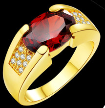 2.3CT Newest fashion 18KT Gold Filled Red,Navy Blue,Blak,green/Zircon wedding&party ring us size :8-15
