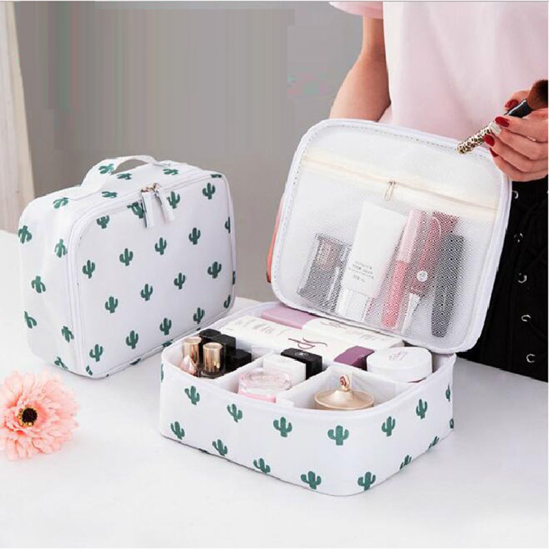 Nordic Style Cosmetic Jewelry Storage Bag Tropical Succulent Cactus Leaf Flamingo Women Makeup Organizer Pink Travel Container
