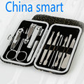 2016 best ,12 in1 Stainless Steel Pedicure/Manicure Set, Portable Nail Clippers File Scissor TweezersCuticle Grooming Kit Case