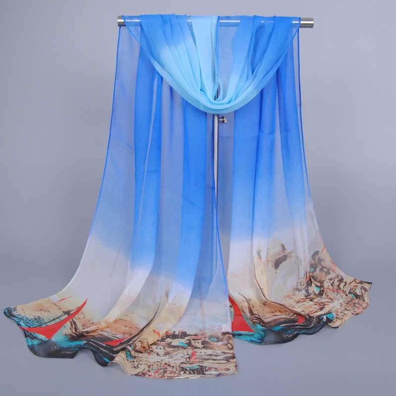 Commercio all'ingrosso printe torre ombre sciarpa/beach sciarpe di seta chiffon georgette Silenziatore lungo autunno 10 colore scialli/sciarpa 10 pz/lotto
