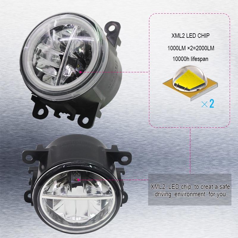 Cawanerl For Ford Focus MK2 MK3 2004-2015 Car LED Bulb 4000LM Front Fog Light + Angel Eye Daytime Running Light DRL 12V 2 Pieces