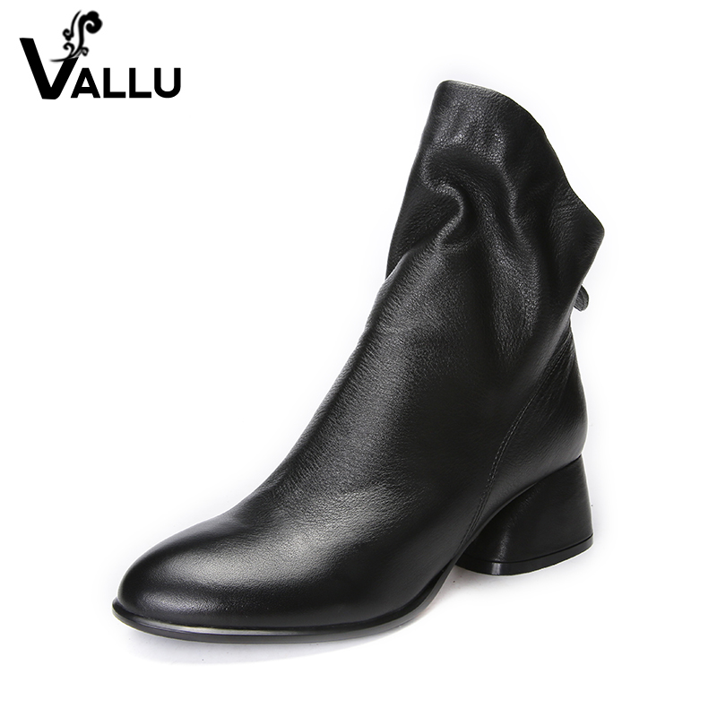 New Arrival Leather Short Boots Shoes Woman 2017 Real Leather Ladies Black Ankle Heel Boots Pointed Toe Super Soft Women Shoes