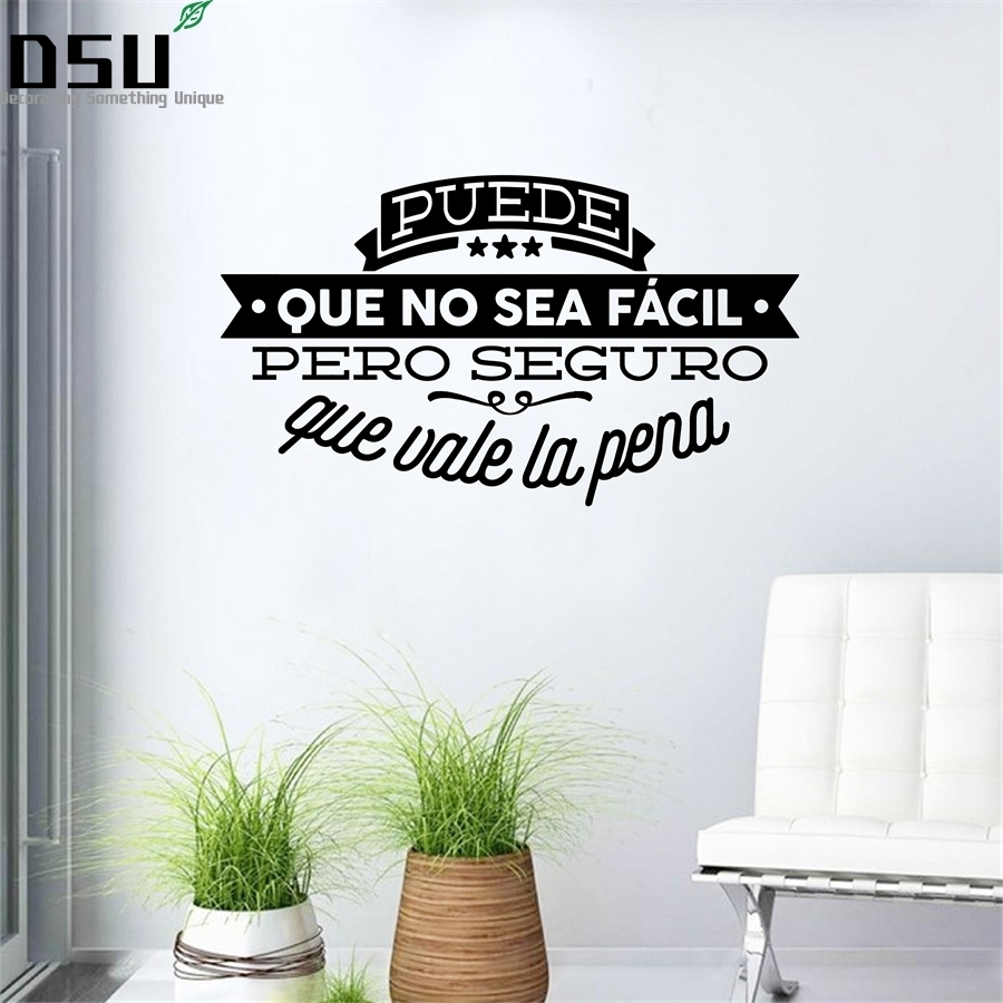 Decorative Viny Wall Stickers Spanish Famous Quote Inspiring Phrase Wall Decals Sticker For Living Room Decoration Wallpaper