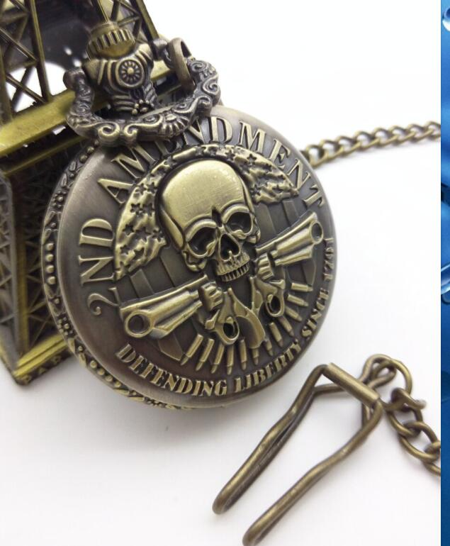 2ND AMENDMENT Defending Liberty Since 1791 Cool Guns Design Antique Bronze Skull and Attack on Titan pocket watch fob chain gift