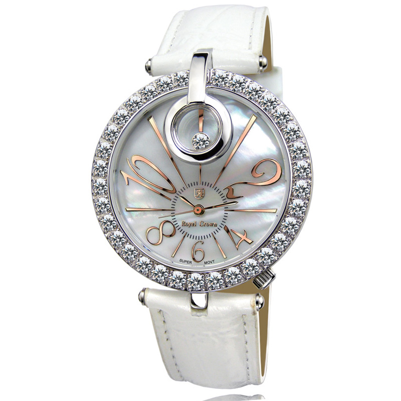 Royal Crown Mother of pearl Lady Women s Watch Quartz Hours Fine Fashion Bracelet Real Leather