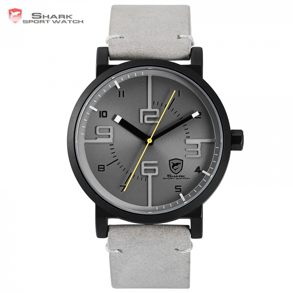 Bahamas Saw SHARK Sport Watch Grey Relogio Masculino Simple 3D Analog Fashion Number Men Quartz Crazy Horse Leather Clock /SH571 curren men s fashion simple leather analog quartz sport watch