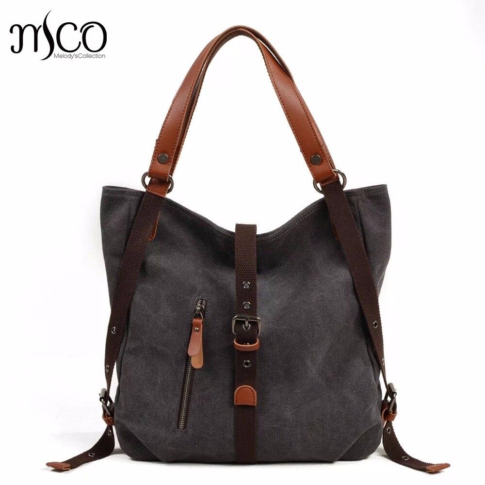 Multifunction Women Handbags Back pack Canvas Ladies Shoulder Bag Tote Fashion Schoolbag For Teenager Girls Travel bag