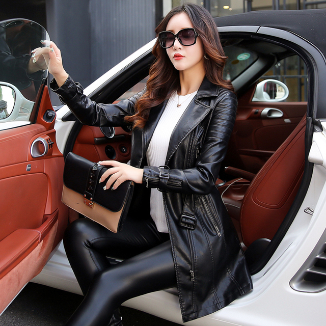 leather jacket women Autumn Winter Faux Leather Jackets Lady Long design Motorcycle Style Lady black green Trench Coat 6707 4