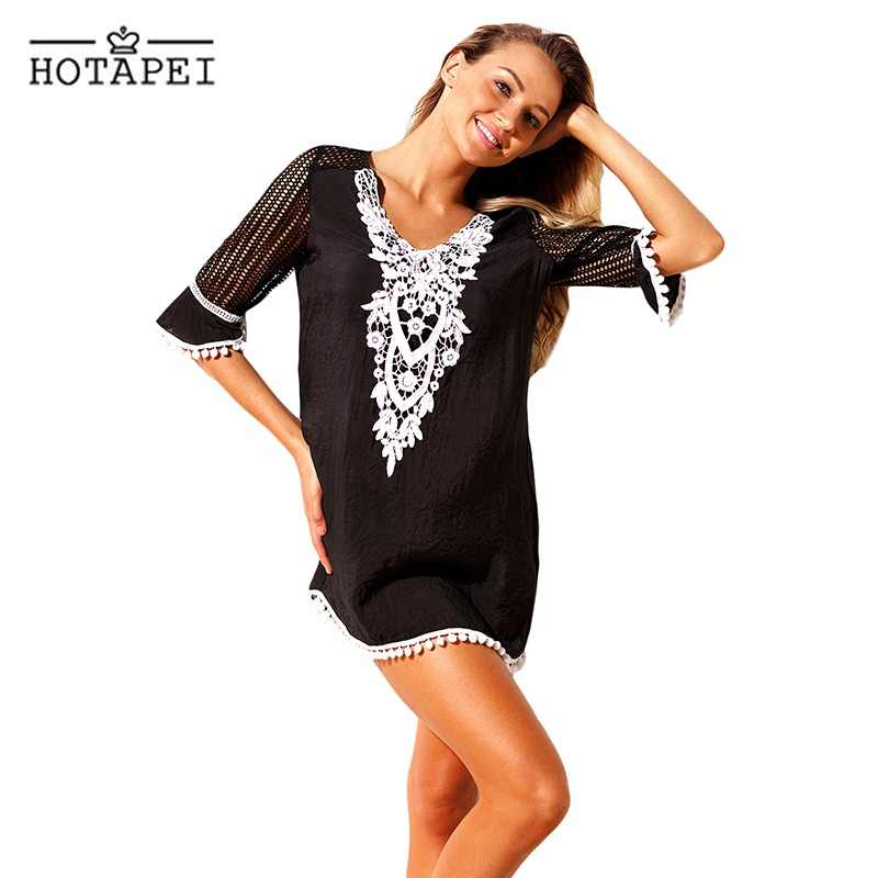 593e48e9fa55b Hotapei Sexy Beach Tunic Pom Pom Tassel Hem Gauze Cover up mini dress  LC42231 women swim