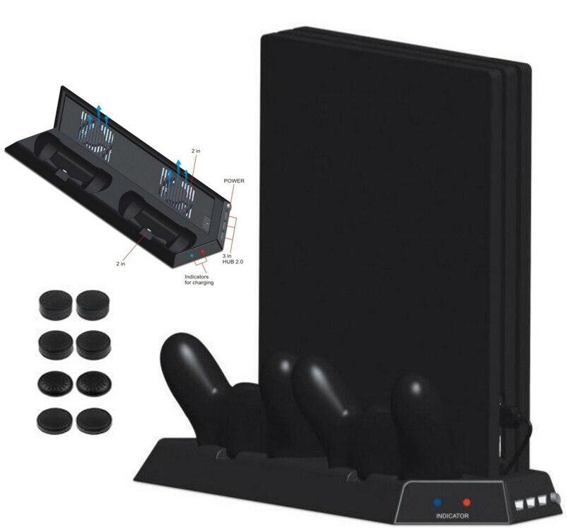4 en 1 Vertical Stand avec Double Ventilateurs De Refroidissement + Double Contrôleur Station de recharge + 3 Supplémentaire HUB Ports Pour PS4 Pro Console Refroidisseur + 8 CAP