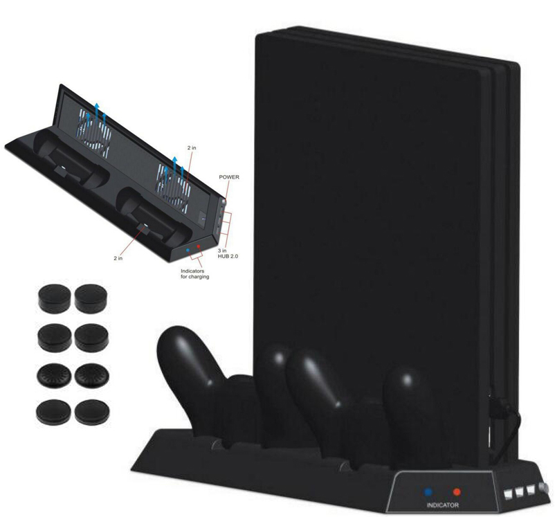 4 in 1 Vertical Stand with Dual Cooling Fans+Dual Controller Charging Station+3 Extra HUB Ports For PS4 Pro Console Cooler+8 CAP new multi function cooling fan cooler vertical stand cooling fan with dual charging station for ps4 slim gaming console
