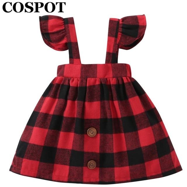 cospot baby girls dress autumn belt ruffle sleeved red plaid christmas dresses for girl kids baby - Girls Plaid Christmas Dress