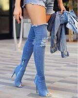 2017 Pista de mezclilla azul sobre la rodilla botas sexy zapatos de punta abierta de tacón alto botas de mujer botas altas tacones delgados botas de vaqueros