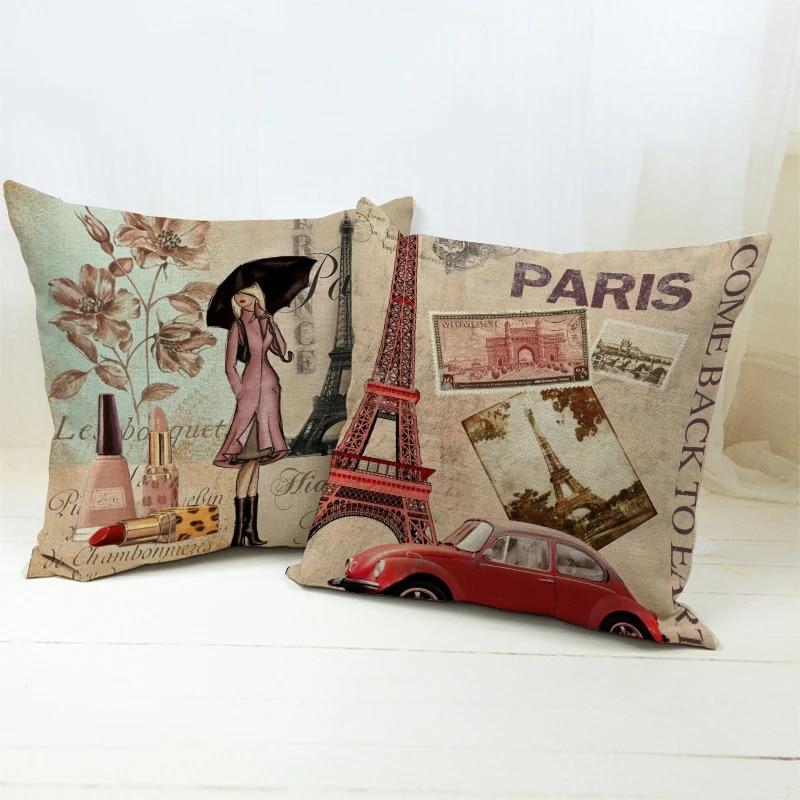 45 45cm vintage paris tower triumphal arch woman throw pillow cases sofa seat lipstick cheap cushion covers fashion retro style