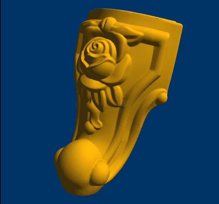Escultura de relieve CNC 3D modelo STL big rose pata de escritorio muebles occidentales pierna -- 5