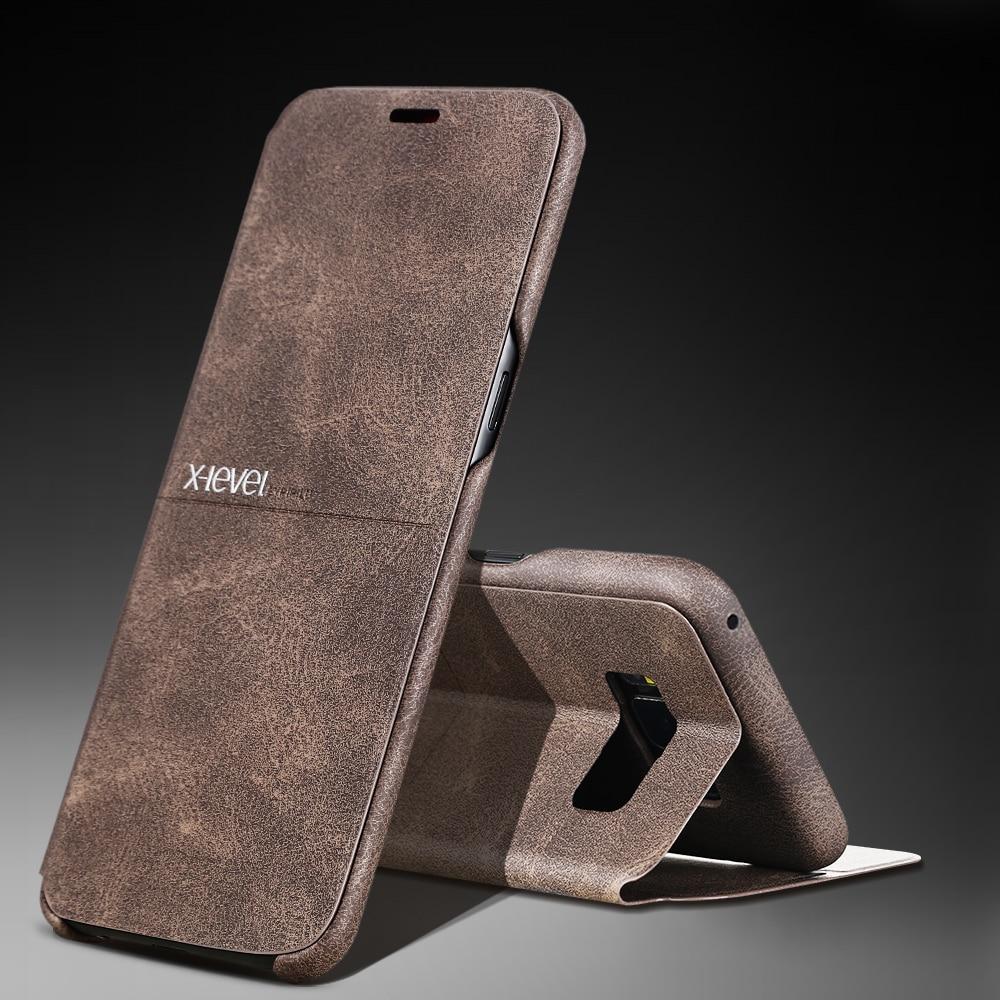 X-nivel de calidad superior lujo clásico, Retro Flip Funda de cuero para Samsung Galaxy S8 S7 borde S6 Edge plus Nota 8 Nota 7 5 flip cover