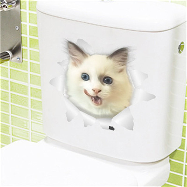 2019 1Pc Vivid 3D Cat/Dog Smashed Switch Wall Sticker