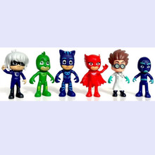 6pcs/set PJ Masks Characters Catboy Owlette Gekko Cloak Action Figure Toys Boy Birthday Gift Plastic Dolls