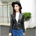 2017 New Brand Women Plus size Leather Jackets Genuine Leather Sheepskin Suit 16225