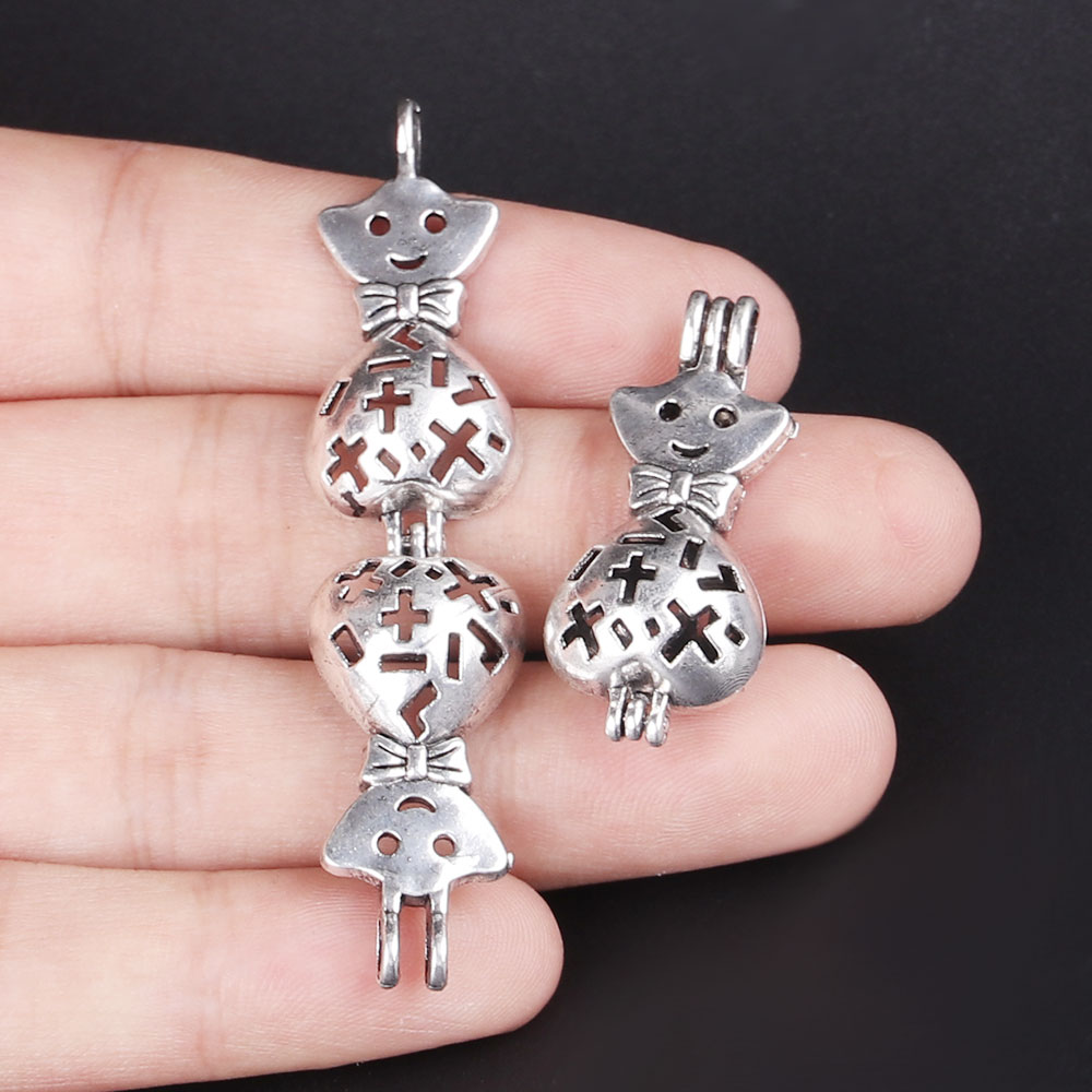 10pcs Silver Lucky Star Pearl Cage Jewelry Making Supplies Bead Cage Pendant Essential Oil Diffuser For Pearl Jewellry