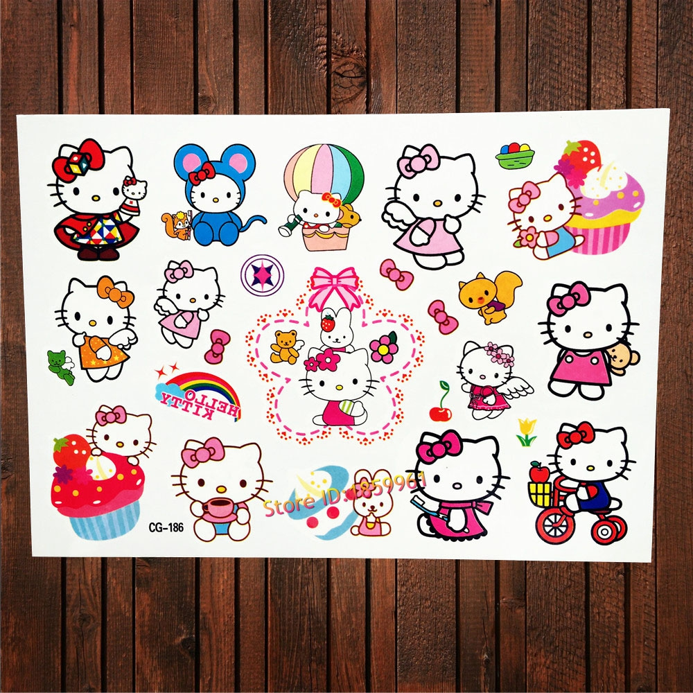 25 design hello kitty waterproof temporary tattoo for for Temporary tattoos kids