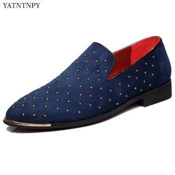 Новая брендовая мужская кожаная обувь, модная обувь с заклепками, оксфорды с острым носком, мужская повседневная обувь на плоской подошве п... >> CindyYi Store