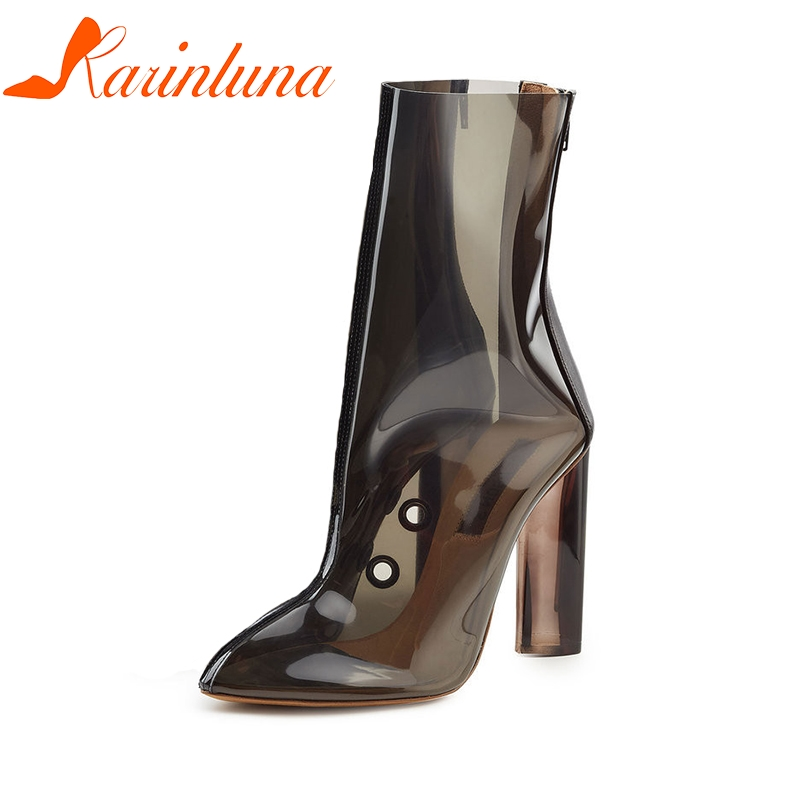 KARINLUNA Plus Size 34-48 Zip Solid Bardian Shoes Pointed Toe Shoes Woman Spring High Heels Boots Shoes enmayer woman spike heels boots string bead solid ladies high heels zip pointed toe shoes large large size 34 46 spring autumn