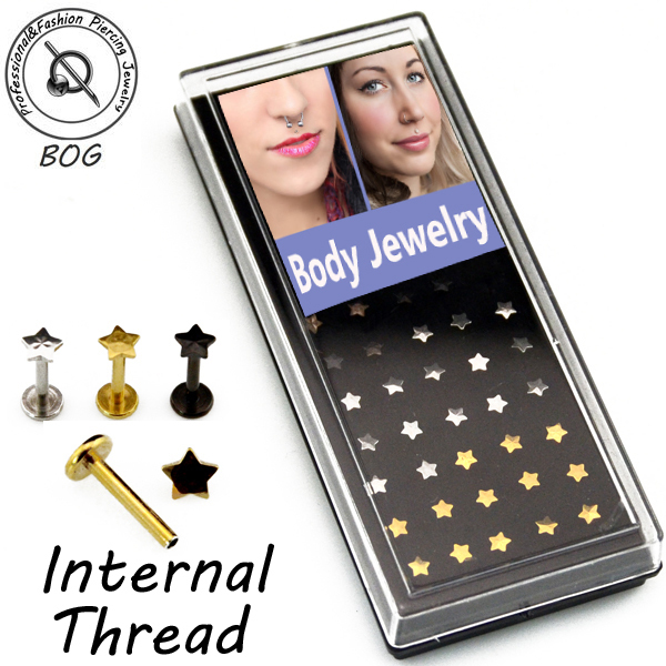 BOG-40 Pieces 316L Internal Thread labret monroe Lip stud Ring Ear Tragus 3.5mm star&heart flat top,16g black gold silver